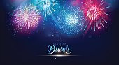 Diwali festival lights poster. DIwali holiday shiny background with fireworks. Vector illustration