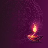 Diwali festival poster. DIwali holiday shiny background with diya lamp and rangoli. Vector illustration