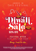 Diwali Festival Sale Poster Flyer Design Layout Template A4 Size with 50% Discount Tag