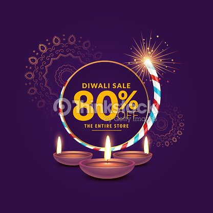 diwali festival sale template background with cracker and diya vector art