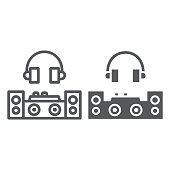 Dj line and glyph icon, party and music, dj mixer sign, vector graphics, a linear pattern on a white background, eps 10.