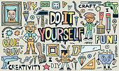 Do It Yourself. Creativity Craft Funny Doodle Set. Color Drawing. Vector Illustration. Texture Background.