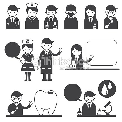 Doctor And Nurse Symbol Icons Set Vector Art Thinkstock