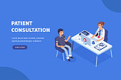 Doctor and patient concept banner with characters. Can use for web banner, infographics, hero images. Flat isometric vector illustration.