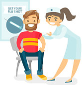 Caucasian white doctor woman giving a free flu vaccination shot to the arm of a male patient. Young happy smiling doctor vaccinating a hipster man against flu. Vector isolated cartoon illustration.