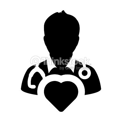 Doctor Icon Vector Cardiologist Specialist With Heart Symbol For