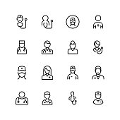 Doctor icon set. Collection of high quality black outline logo for web site design and mobile apps. Vector illustration on a white background.