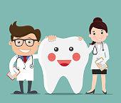 Doctor with Happy healthy teeth - Vector illustration