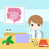 doctor with intestine on the blue background