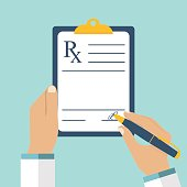 Doctor writing prescription. Clipboard in hands of doctor. Rx prescription form.  Medical prescription pad. Vector illustration flat design style. Medical background, template.