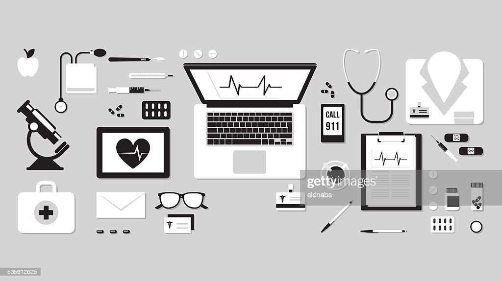 Doctor's desktop : Vector Art