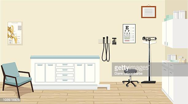 Doctor's Office with Medical Equipment and Cabinets Illustration