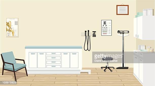 Doctor's Office mit medizinischen Geräten und Schränke Illustrationen