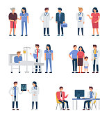 Different medical staff with their patients.  Flat style minimal vector illustration isolated on white background.