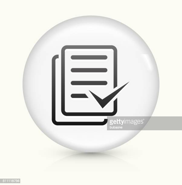 Document Check Mark icon on white round vector button