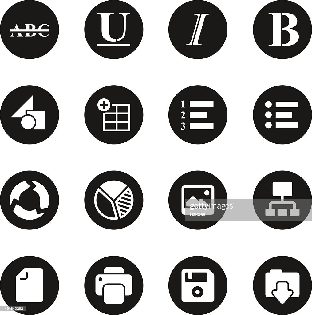 Document editor tool icons black circle series vector art getty images for Black circle vector