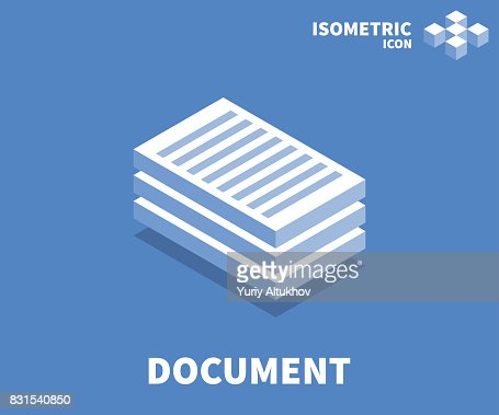 Document icon, illustration, vector symbol in flat isometric 3D style isolated on color background. : stock vector