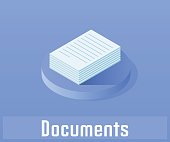 Document icon, vector symbol in flat isometric style isolated on color background.