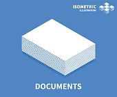 Documents icon. Isometric template for web design in flat 3D style. Vector illustration.