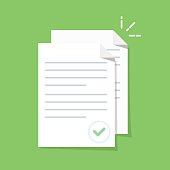 Documents icon. Stack of paper sheets. Confirmed or approved document. Flat illustration isolated on color background