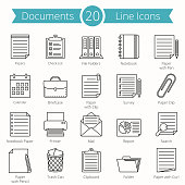 20 paper and documents line icons set, vector eps10 illustration
