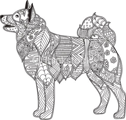 Dog Adult Antistress Or Children Coloring Page Vector Art