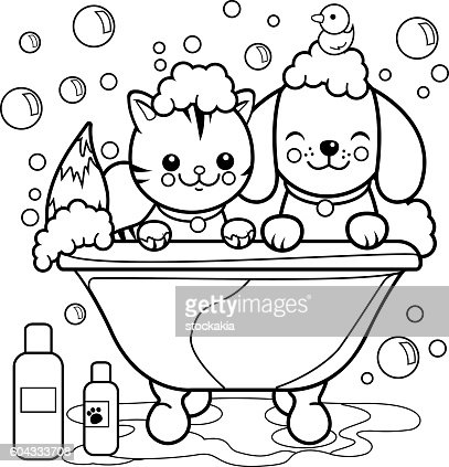 Dog And Cat Taking A Bath Coloring Page Vector Art Thinkstock