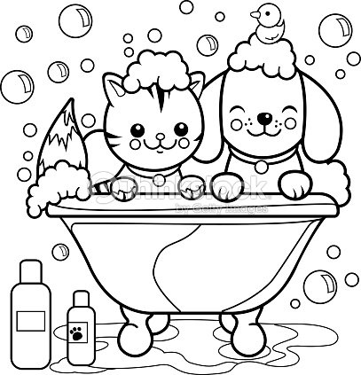 Dog And Cat Taking A Bath Coloring Page Vector Art | Thinkstock