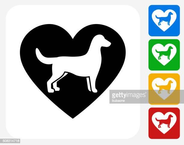 Perro y corazón diseño gráfico de iconos planos
