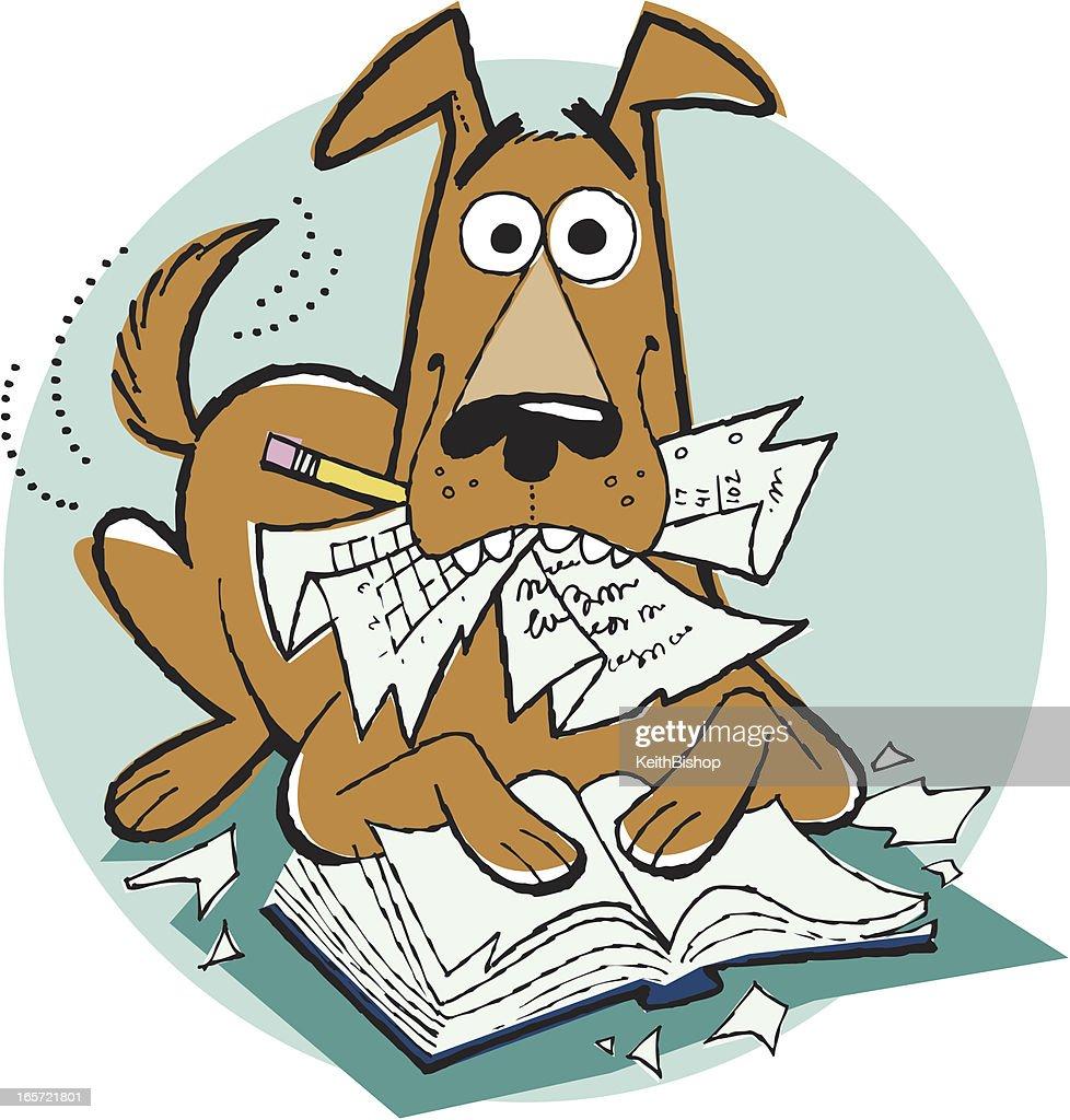 Dog Ate My Homework Cartoon Pet Reading Education Vector ...
