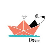 Dog & Bird in a paper boat, character design