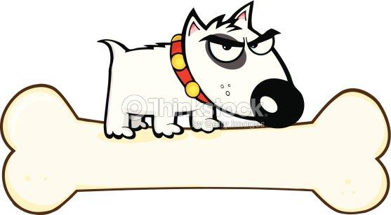 Bull Terrier Chien Sur Un Gros Os Clipart vectoriel