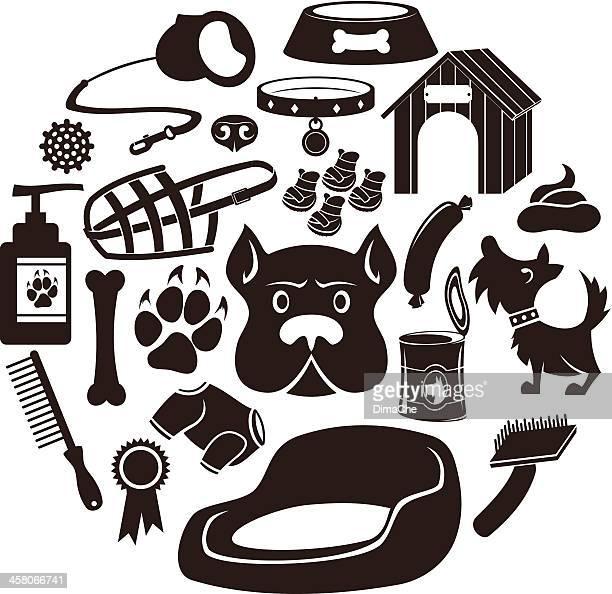 Dog care icon set