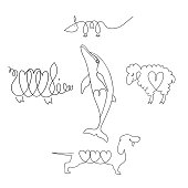 Vector set of hand drawn animals. Linear image Pets with elements in the shape of a heart.