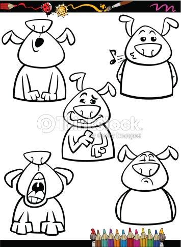 Perro De Dibujos Animados Emociones Para Colorear Página Arte