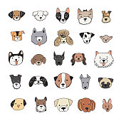 dog face cartoon vector doodle hand drawn illustrations set