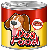 Dog food in aluminum can with cute dog on label illustration