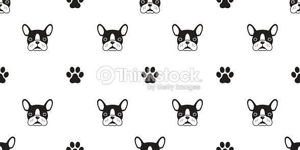 Dog French Bulldog Paw Print Icon Vector Seamless Pattern Wallpaper Background Art