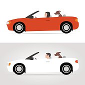 Dog on cabriolet. Vector illustration