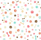 Dog paw print seamless. Template for your design, wrapping paper, card, poster, banner, flyer. Vector illustration. Isolated on white background