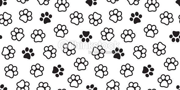 Dog Paw Seamless Pattern Cat Vector Foot Print Kitten Puppy Wallpaper Background Art