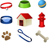 Dog pets stuff icons, with collar, dog dish, ball, water dish, dog house, dog water bomb, paw print, dog leash and dog bone vector illustration.