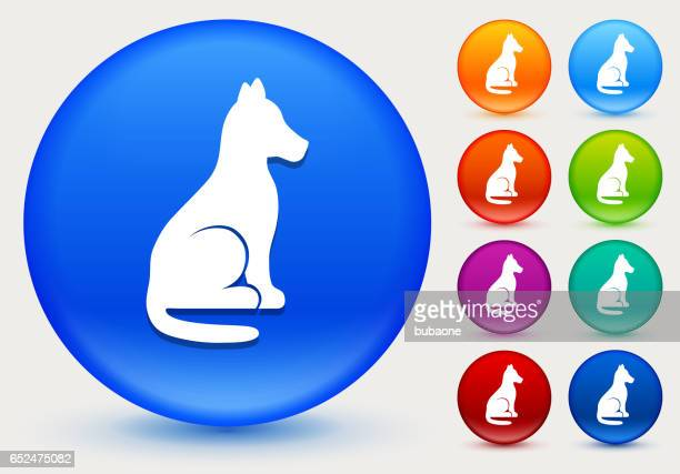 Dog Sitting Icon on Shiny Color Circle Buttons