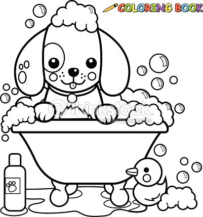 Dog Taking A Bath Coloring Book Page Vector Art | Thinkstock