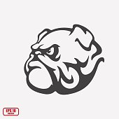 Bulldog. Icon isolated on background. Mascot, logo, sticker, print, tattoo. Vector illustration, eps 10.