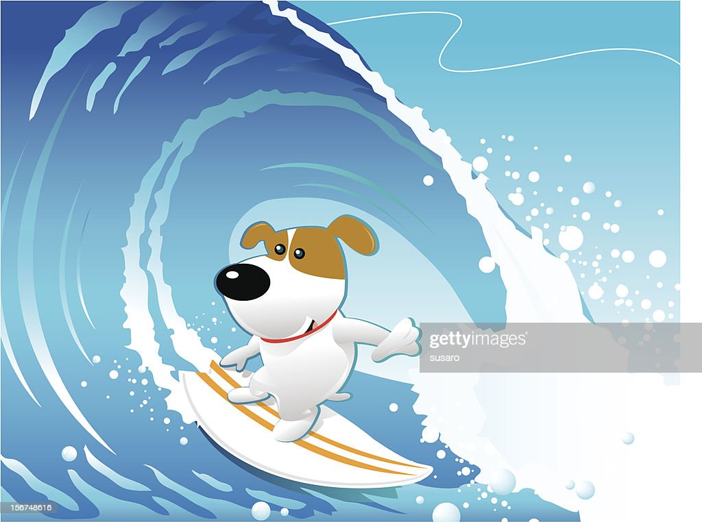 Doggy Surfing : Vector Art