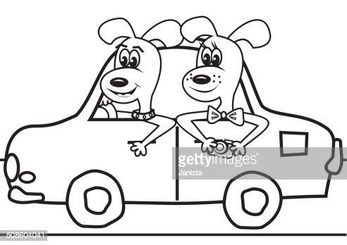 Cães no carro-Livro de Colorir : Arte vetorial