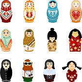 Doll matryoshka vector matrioshka russian toy traditional symbol of Russia national matreshka of different nationalities tourist Japanese arab illustration isolated on white background.
