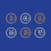 Currency exchange, dollar sign, euro pound yen ruble coins, business and finance investment, vector line icons