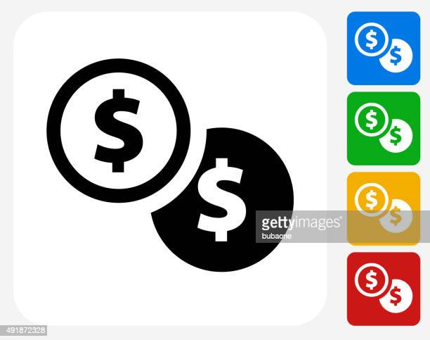 Dollar Coins Icon Flat Graphic Design
